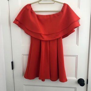 Red off the shoulder Swing Dress